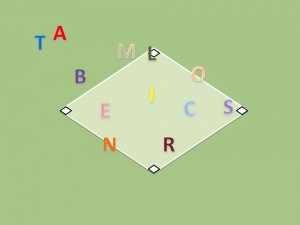 baseball diamond with letters for players