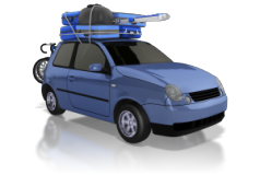 car carrying luggage on top
